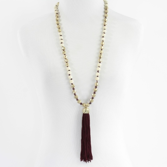 Tassel Necklace Jewelry Tassel Necklace Knotted W Wood Gold Beads